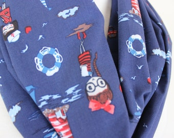 Cute Anchor Print Loop Scarf, Dark Blue Scarf, Marital Scarves, Navy Blue Scarves, Gift for Her, Blue Infinity Scarves, Linen Cotton Scarves
