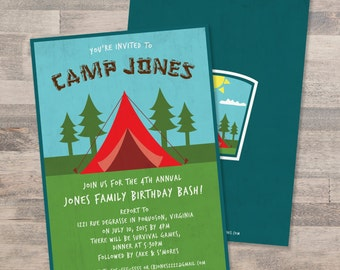 Red Tent and Camp Ground Camping Themed Birthday Party Invitation | Customizable | DIGITAL FILE