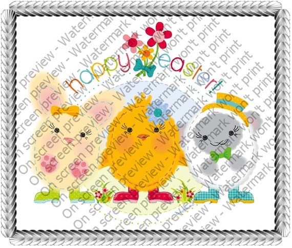 Happy Easter Friends Birthday - Edible Cake and Cupcake Topper For Birthday's and Parties! - D318
