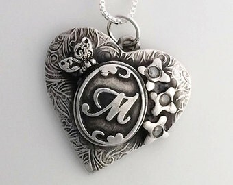 Made to Order Initial Heart in Fine Silver