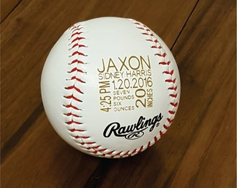 Personalized Engraved Baseball for Baby Birth Announcement, Newborn Stats, Sports Nursery
