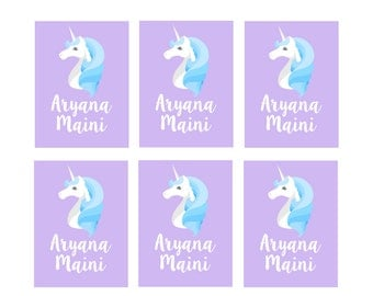 80ct Iron On Clothing Name Labels, Kids Clothing Labels, Personalize Uniform Name Labels - Baby Clothing Unicorn