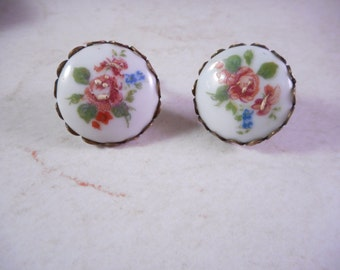 Vintage  Limoges Earrings 1940s Porcelain with Hand Painted Flowers Screw on Backs
