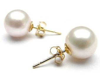 Freshwater Pearl Earrings 8 mm-Bridal Earrings-Wedding Jewelry-Pearl studs-Freshwater pearl stud-Birthday gift -pearl earrings wedding