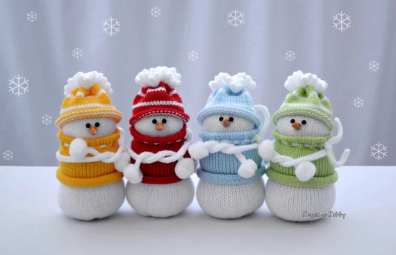 Knitted Snowmen Knit Snowman Made To Order Hoilday