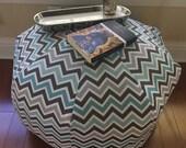READY TO SHIP Personalized Pouf, Large Floor Pillow, Dorm Decor, Floor Pillow, Foot Stool, Floor Cushion, Dorm Pillow chevron gray aqua