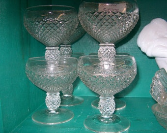 8 Vintage Pressed Glass Goblets, Glasses, English Hobnail (Price for All), WAS 50.00 - 40% = 30.00