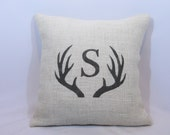 Custom personalized initial/letter rustic ivory burlap pewter gray (or custom color) buck deer antlers pillow cover. Custom size/colors