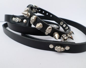Chihuahua Spiked Dog Collar / Extra Small Spiked Dog Collar spikes and skull and lead