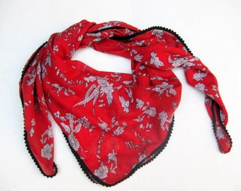 Fashion scarf/ light weight scarf/ floral scarf/ cotton scarf/ gift scarf / red scarf/ gift ideas.