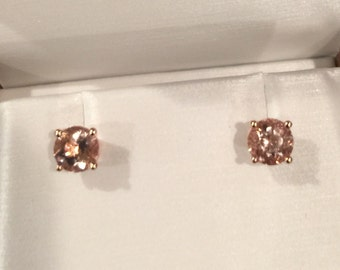Morganite Stud Earrings 14K Rose Gold Earrings with 5mm Round Morganite Gemstone Earrings Fine Jewelry Valentine's Gifts For Her Gems- V1067