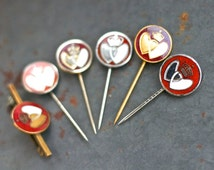 Double Heart Pins - Instant collection of 6 - Antique Tie Pins Lot - 40s Blood Doner Badge