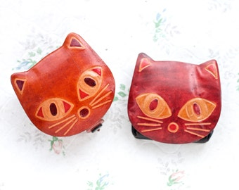 Pair of Coin Purse - Cat Faces - Kitten Leather Change Wallets