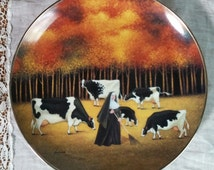 Franklin Mint Collectible Plate Decor Fall Followers 1992 by Lowell Herrero Nun and Cows Limted Edition 8.5 inches