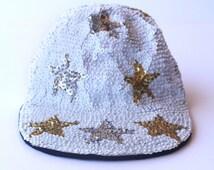 RAD White Sequin Star Motif Hip Hop Long Bill Hat