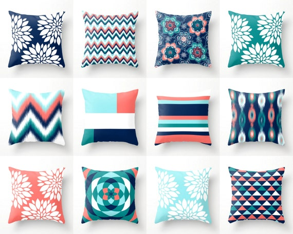 Throw Pillows Pillow Covers Navy Aqua Coral Teal By