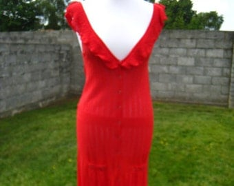 Red Knitted Summer Dress Opened Back Fringed Size M