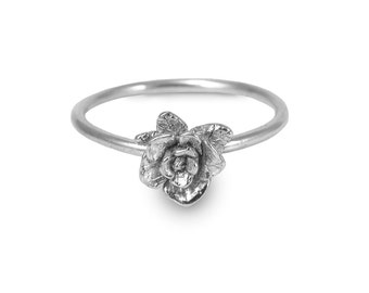 Mini Rose Ring, Rose Ring, Sterling Silver Ring, Handmade