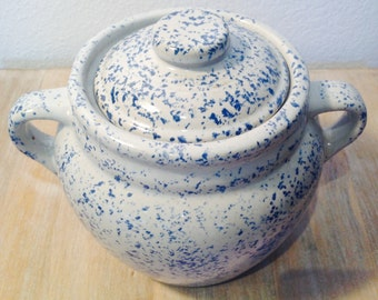 Vintage  blue Sponge-ware on stoneware, kitchen cooking bean pot, or storage crock by Monmouth Ill USA