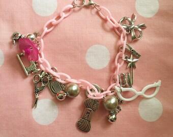Mid-Century inspired 'Crafty Girl' Charm Bracelet