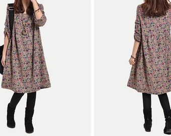 Loose big yards of literature and art to restore ancient ways small broken flower long-sleeved cotton dress -Women Clothing