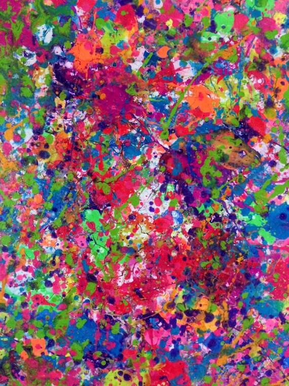 Splatter Neon Art Neon Painting Abstract Canvas Art Original  Splatter Neon A...