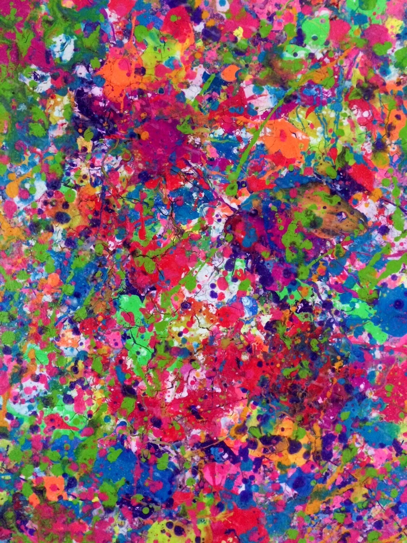 Splatter Neon Art Neon Painting Abstract Canvas Art Original