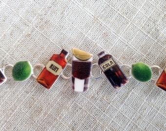 Cocktail bracelet - Rum drinker - Rum gift - Gift for her - Rum and cola - Charm bracelet - Cuba Libre