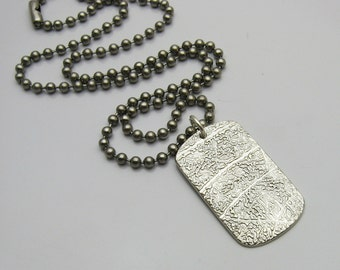 Sterling Silver Fingerprint Necklace, Sterling Silver Fingerprint, Sterling Silver Dog Tag, Personalized Fingerprint Necklace