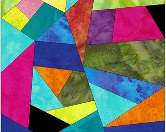 Complex Crazy Patch 15 Paper Foundation Piece Quilting Block Pattern PDF