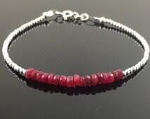 Ruby Bracelet, Pink Ruby, Sterling Silver Ruby Bracelet, Dainty, Skinny, Thin, Gemstone Bracelet