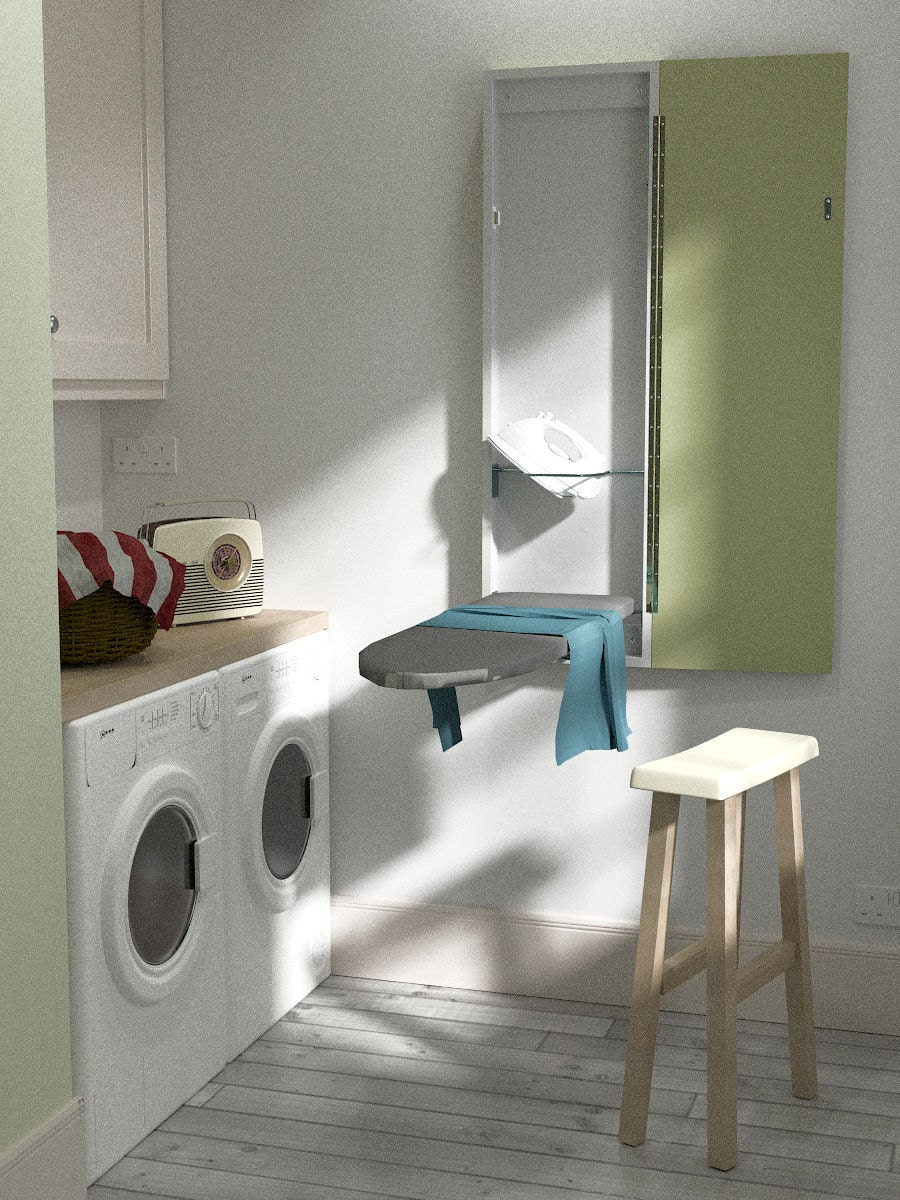 eureka mfg deluxe wall mounted ironing board painted. Black Bedroom Furniture Sets. Home Design Ideas