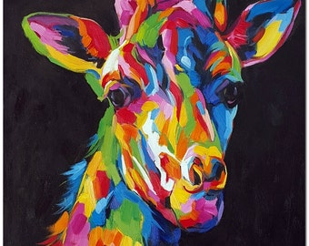 Stare of a Giraffe - Signed Hand Painted Abstract Wildlife Oil Painting On Canvas