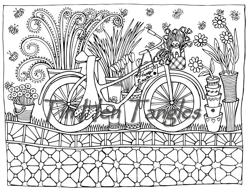 easter bicycle coloring page art therapy color therapy relax bike with