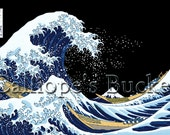 """Beneath the Great Wave off Kanagawa (variant) - 富嶽三十六景 神奈川沖浪裏 (all artworks are sold without the """"Calliope's Bucket"""" stamp)"""