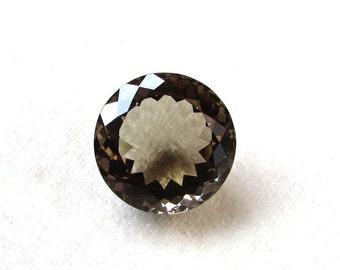 18 mm round (1 pcs) natural genuine SMOKEY QUARTZ  round top cut faceted gemstone.....