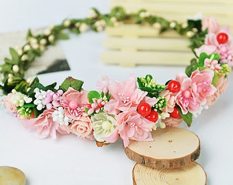 Pink Flower Crown flower hair wreath Girls flower crown halo flowers bride hair accessory floral crown Bridal Floral hair wreath red cherry