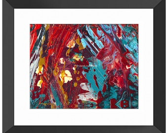 Comic Book Hero Abstract Art Print. Abstract Painting, Paint Splatter, Modern Art, Red Painting, Red White and Blue, Colorful Painting Print
