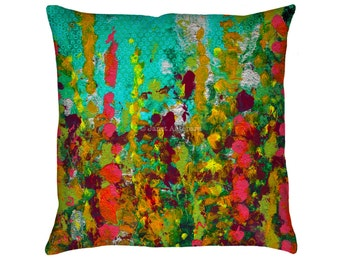 Green Garden Printed Throw Pillow. Cushion Cover, Apartment and Dorm Decor, Sofa Cushion, Wild Flowers, Knife Painting, Modern Art, Abstract