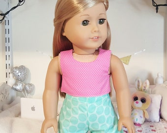 18 inch doll polka crop top and shorts