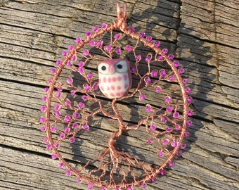 Owl Tree Of Life necklace, wire tree of life, tree necklace, Owl necklace, tree of life jewelry, wire wrapped tree of life