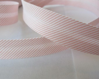 Cotton bias tape 40 / 20 mm Ministripes - pink