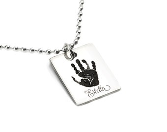 Dog Tag Handprint Necklace - personalized