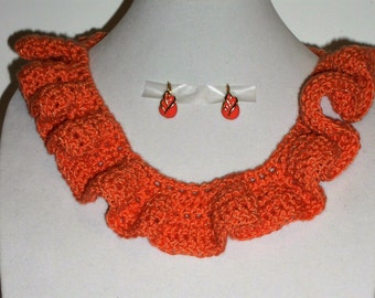 Crocheted orange necklace and earrings