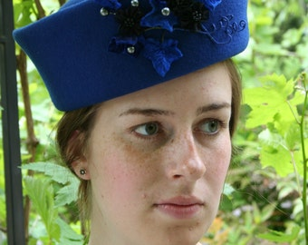 BETHANY Intense royal blue pillbox is the ultimate in sophistication.