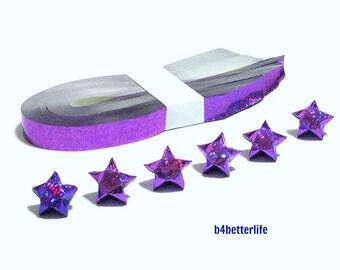 200 Strips Purple Color DIY Origami Lucky Stars Medium Size Paper Folding Kit. 24.5cm x 1.2cm. (4D Glittering Paper Series). #SPK-195.