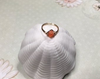 Frosted orange wire wrapped ring