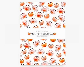 Notebook, journal, diary, crab, A6, stationery, carnet, summer, travel notebook, papergoods, sea, ocean, cute stationery