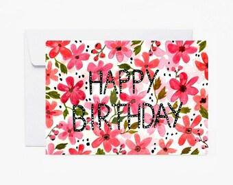 Card, Greeting card, Happy Birthday, stationery, carte de vœux, anniversaire, fête, carte postale, fleurs, livraison gratuite france