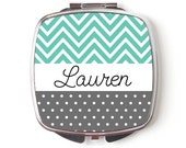 Custom Bridesmaids Gifts - Personalized Compact Mirror - Mint Wedding - Personalized Bridesmaids Gifts